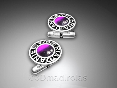 Customized cufflinks with names and a central stone.
