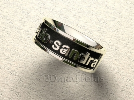 Personalized silver ring with two names.