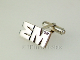 Silver cufflinks customized with a corporate LOGO.