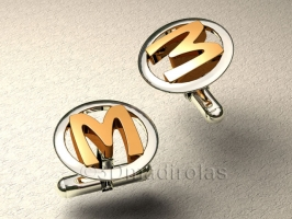 Custom cufflinks with capital letter.