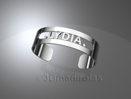 Personalized silver bracelet with a name.