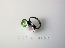 Sterling silver ring with 2 color stones.