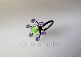 Sterling silver925 ring with 7 color stones.