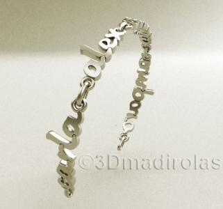 Silver wrist chain with 4 NAMES.