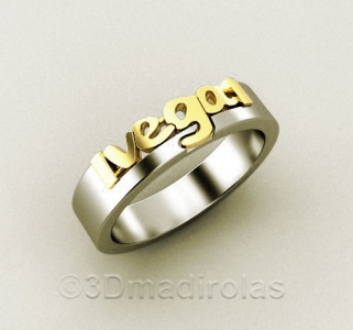 Personalized gold/silver ring 4mm wide