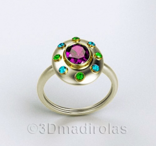 sterling silver OVAL ring with  gemstones set in gold 18k.