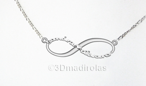 Silver chain INFINITUM with NAMES.