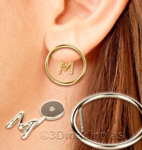 Silver circle earrings with a Letter.