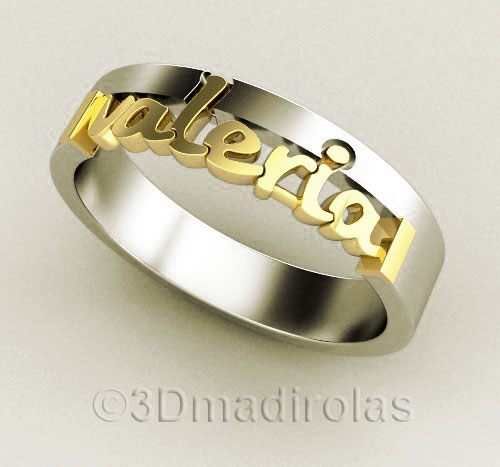 b7a830ed6c Personalized gold/silver ring 4mm wide (Code: TX 124)
