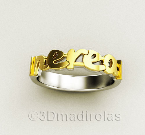 15fe165138 Personalized gold/silver ring 1 name 4mm wide (Code: TX 125)