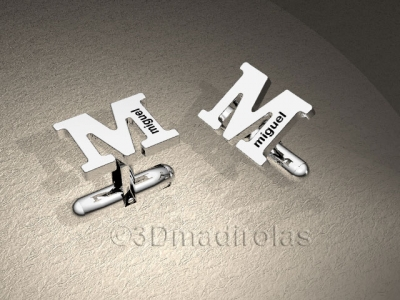 cufflinks customized with capital letter and names.