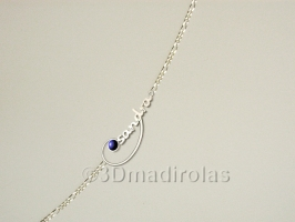 Silver chain with a NAME and colour.