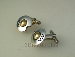 Silver and Gold cufflinks customized with a corporate LOGO.