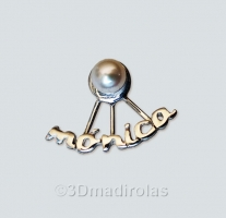 Silver earrings with a Name and pearls.